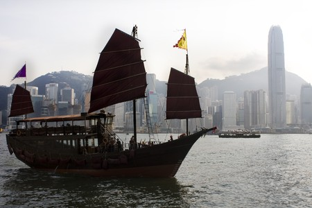 Traditional Chinese Boat on Victoria Harbour, Hong Kong at day Stock Photo - 7879304