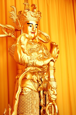 tissu or: Gold Buddha and gold cloth in china Banque d'images