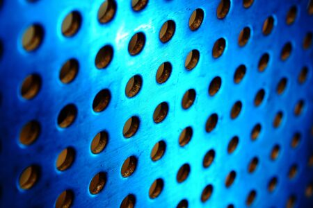 metal background with circles with blue toned Stock Photo - 8432954