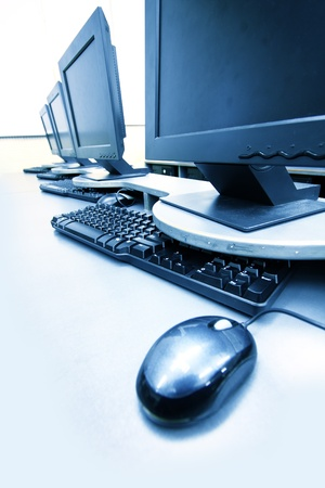 workplace room with computers in row close up Stock Photo - 8432953