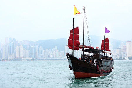 junk boat in Hong kong at day