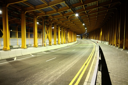 highway tunnel at night and no car photo