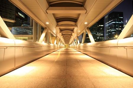 corridor of the city hall at night in hong kong photo
