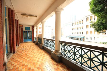 brown floor terrace in old building  photo