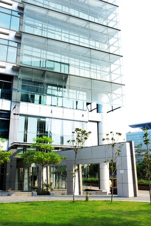 green office: modern office building at day