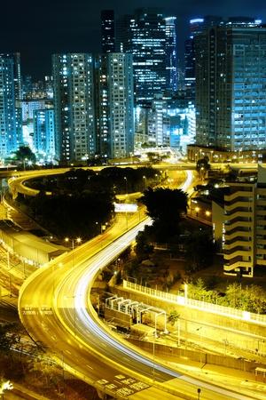 hong kong city: busy traffic night in hong kong