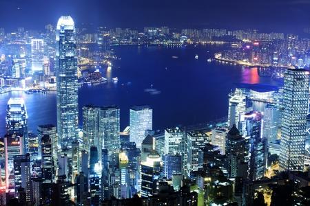 kong: office building at night in hong kong
