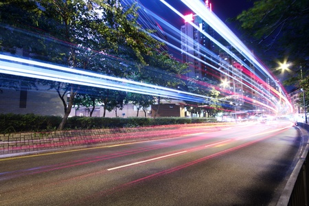 Modern Urban City with Freeway Traffic at Night, hong kong  Stock Photo - 9138148