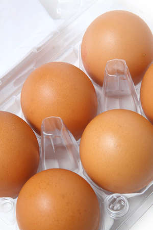 Box of eggs on white photo
