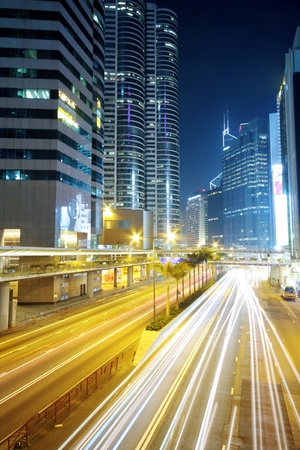 road block: Traffic in downtown at night,hongkong city Stock Photo