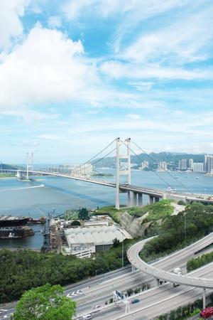 Tsing Ma Bridge in hong kong at day photo