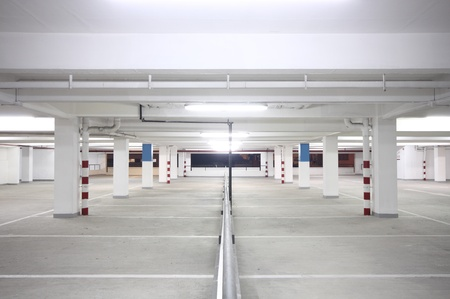 garage: indoor carpark atnight in wode angle Editorial