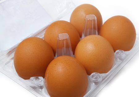 Box of eggs on white photo