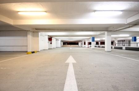 underground passage: indoor carpark atnight in wode angle Editorial