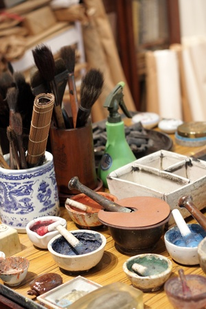 chinese culture , china painting desk close up. photo