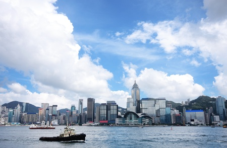 hong kong harbour: Hong Kong skylines Stock Photo