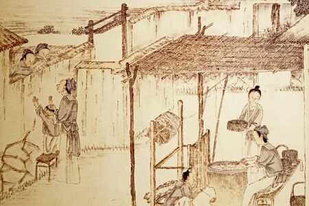 immigrate: Old illustration of Chinese immigrants in Guadalupe. Stock Photo