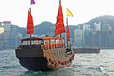 sailboat in Hong Kong harbor  Stock Photo