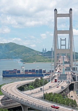ma: Tsing ma bridge at day Stock Photo