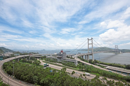 ma: Tsing ma bridge at day Stock Photo