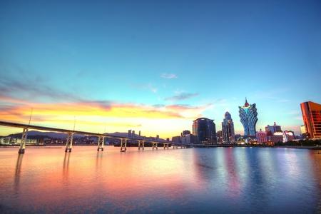 macau: Macau city at sunset moment
