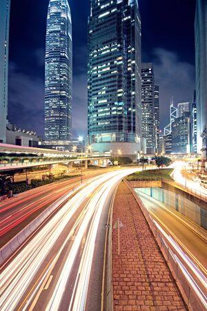 hong kong street: traffic in Hong Kong at night