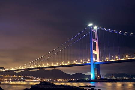 Tsing Ma Bridge in Hong Kong at night Stock Photo - 10173070