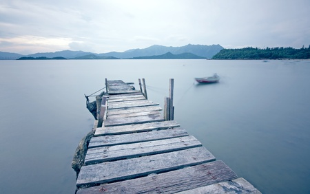 old jetty walkway pier the the lake  Stock Photo