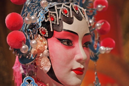 chinese opera dummy and red cloth as text space ,it is a toy,not real man Stock Photo - 10172954