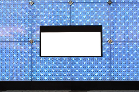 Blank billboard on wall and lighting background Stock Photo - 10173290