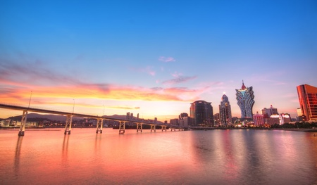 macao: Macau city at sunset moment