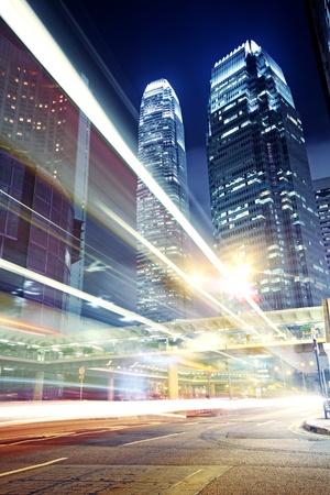 shanghai china: traffic in Hong Kong at night