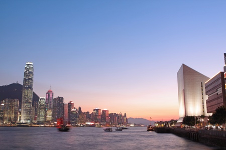 esplanade: Magic hour of Victoria harbour, Hong Kong