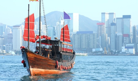 Hong Kong junk boat  photo