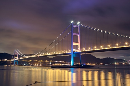 Tsing Ma Bridge in Hong Kong at night photo