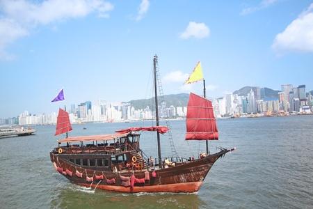 junk boat in hongkong photo
