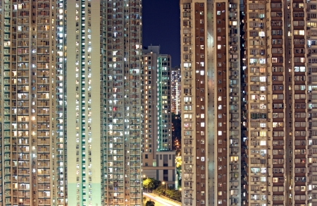 many windows: Hong Kong public housing apartment block