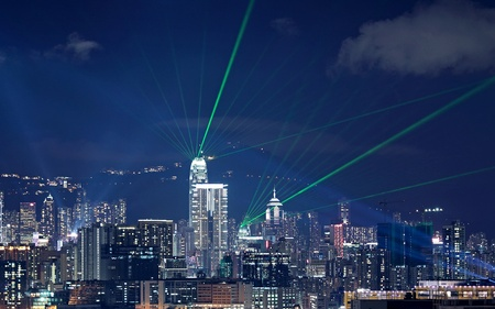 laser show: Beautiful laser night show scenery of Hong Kong Victoria Harbor