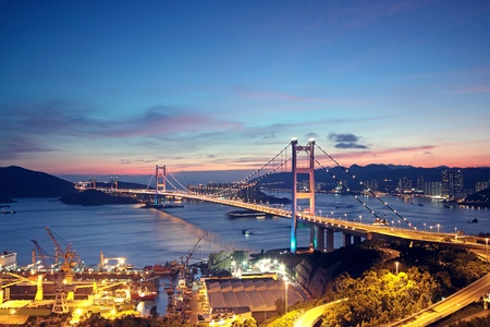 ma: Beautiful night scenes of Tsing Ma Bridge in Hong Kong.  Stock Photo