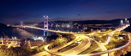 ma: highway bridge at night in hong kong