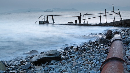 Bathing pavilion (Chinese: 泳棚) is a structure for bathing and swimming at a sea shore. The structure extended from shore into the sea with a large platform. Now, it is a history buildings in hong kong. photo