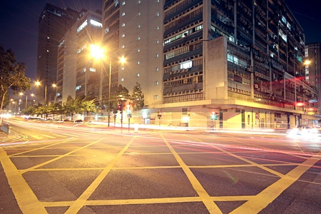 Modern Urban City with Freeway Traffic at Night, hong kong  Stock Photo