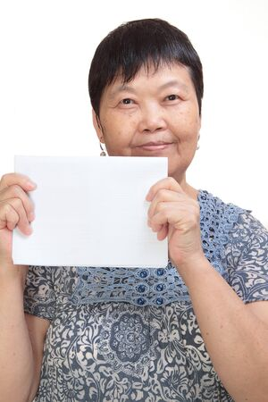 holding the head: Concept photo of Asian woman holding a white card