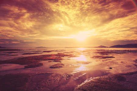 sunrise beach: Tropical sunset on the beach. Stock Photo