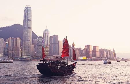 Chinese sailing ship in Hong Kong Victoria Habour  photo