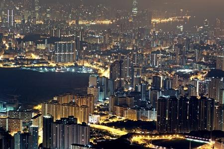 hong kong residential city night  photo