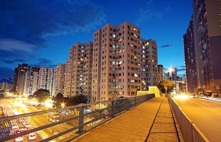 urban scene: modern urban city at night with freeway traffic Stock Photo