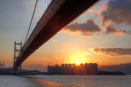 ma: bridge at sunset moment, Tsing ma bridge