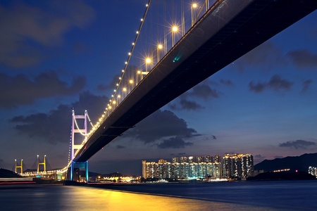 ma: Tsing Ma Bridge in Hong Kong at night