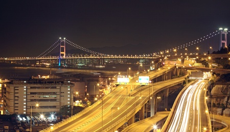 night scenes of highway Bridge in Hong Kong.  photo